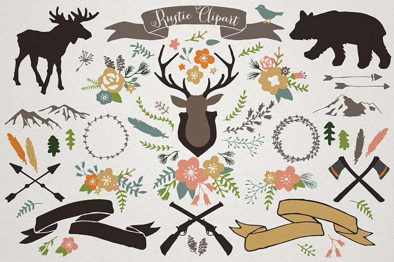 Rustic Mountain Lodge Clipart rustic wedding woodland by.