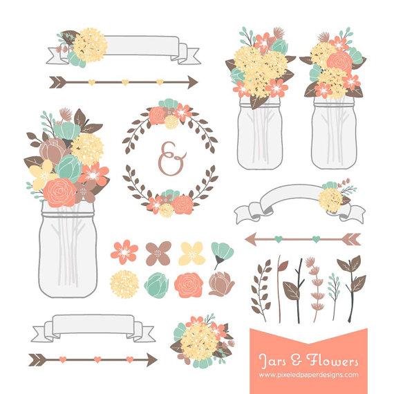 Rustic Flower Mason Jar Digital Clipart.