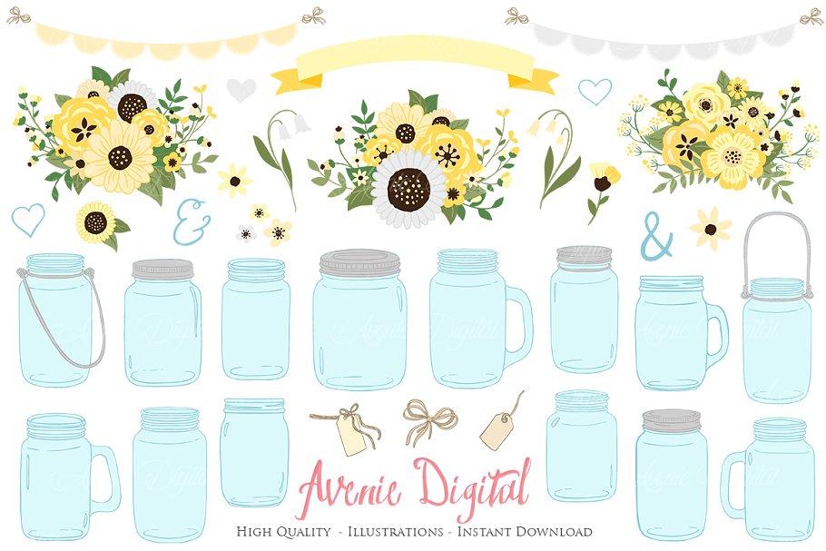 Yellow Floral Mason Jars Cliparts.