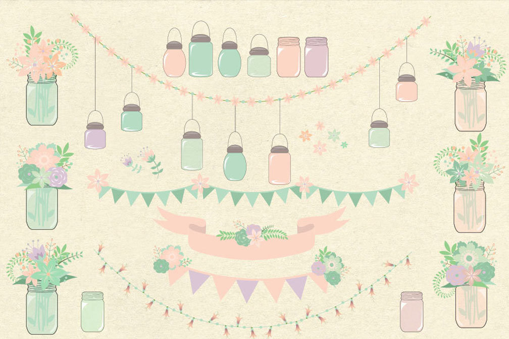 Rustic Pink and Mint Mason Jars Clipart.
