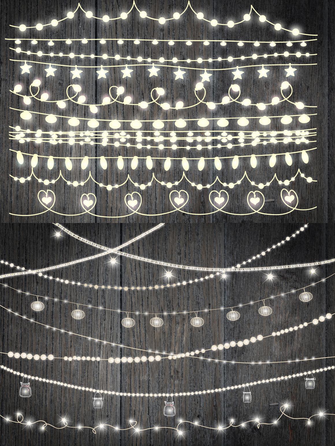 VECTOR Rustic String Lights Clipart, wedding invitation.