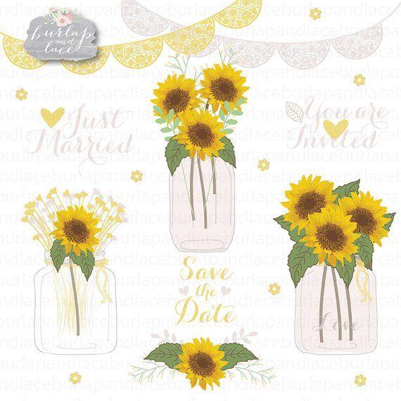 Sunflowers clipart, Wedding mason jar clipart, flower.