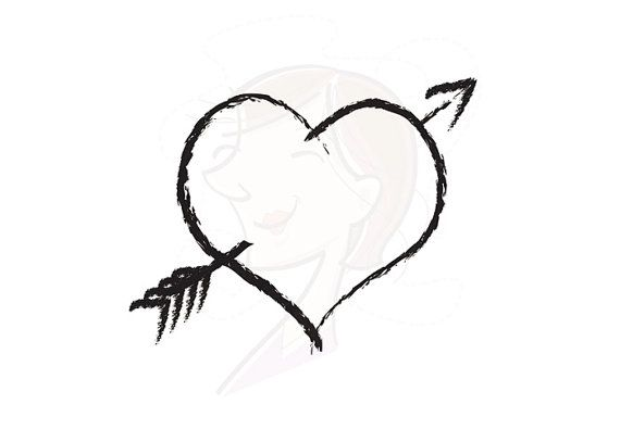 Digital Clipart Heart Rustic