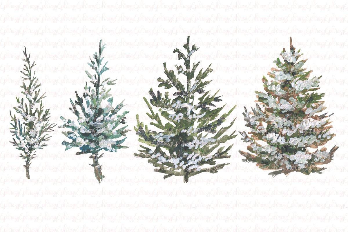 Rustic Christmas trees clipart set.