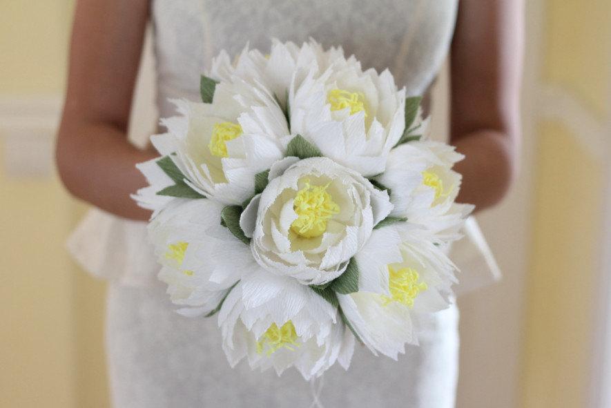 wedding flower lotus bouquet water lily white lotus rustic.