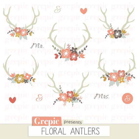 50% Floral antlers: rustic wedding clipart, antler clip art.