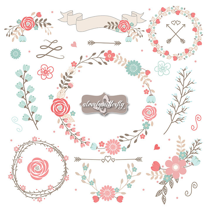 Wedding Flower Clipart Rustic shabby chic clipart rose blush.