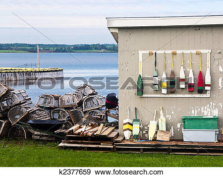 Stock Photograph of North Rustico, PEI (Canada) Lobster Traps and.
