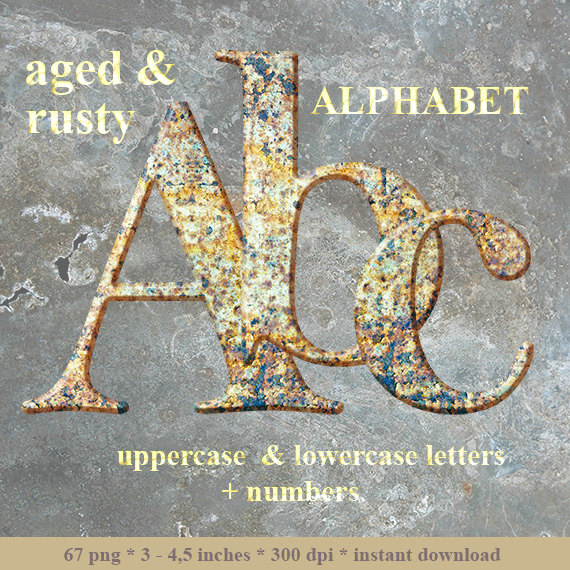 Rusty metal digital alphabet clipart red brown rust by LucyPlanet.