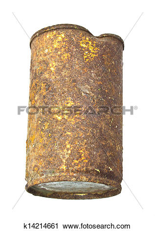 Stock Photography of Old rusty can isolated on a white background.