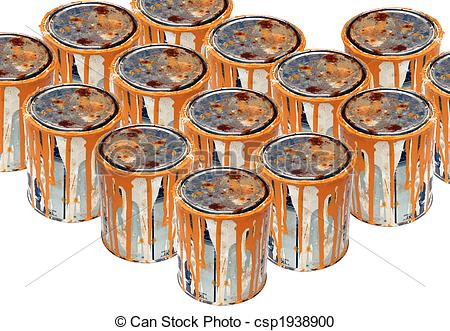 Stock Photography of Rusty paint cans.