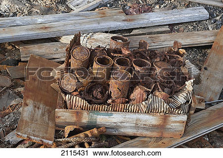 Stock Photography of Rusty cans; antarctica 2115431.