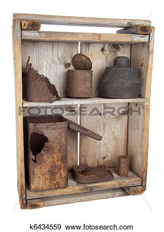 Stock Photograph of Old wooden shelves with rusty cans k6434559.