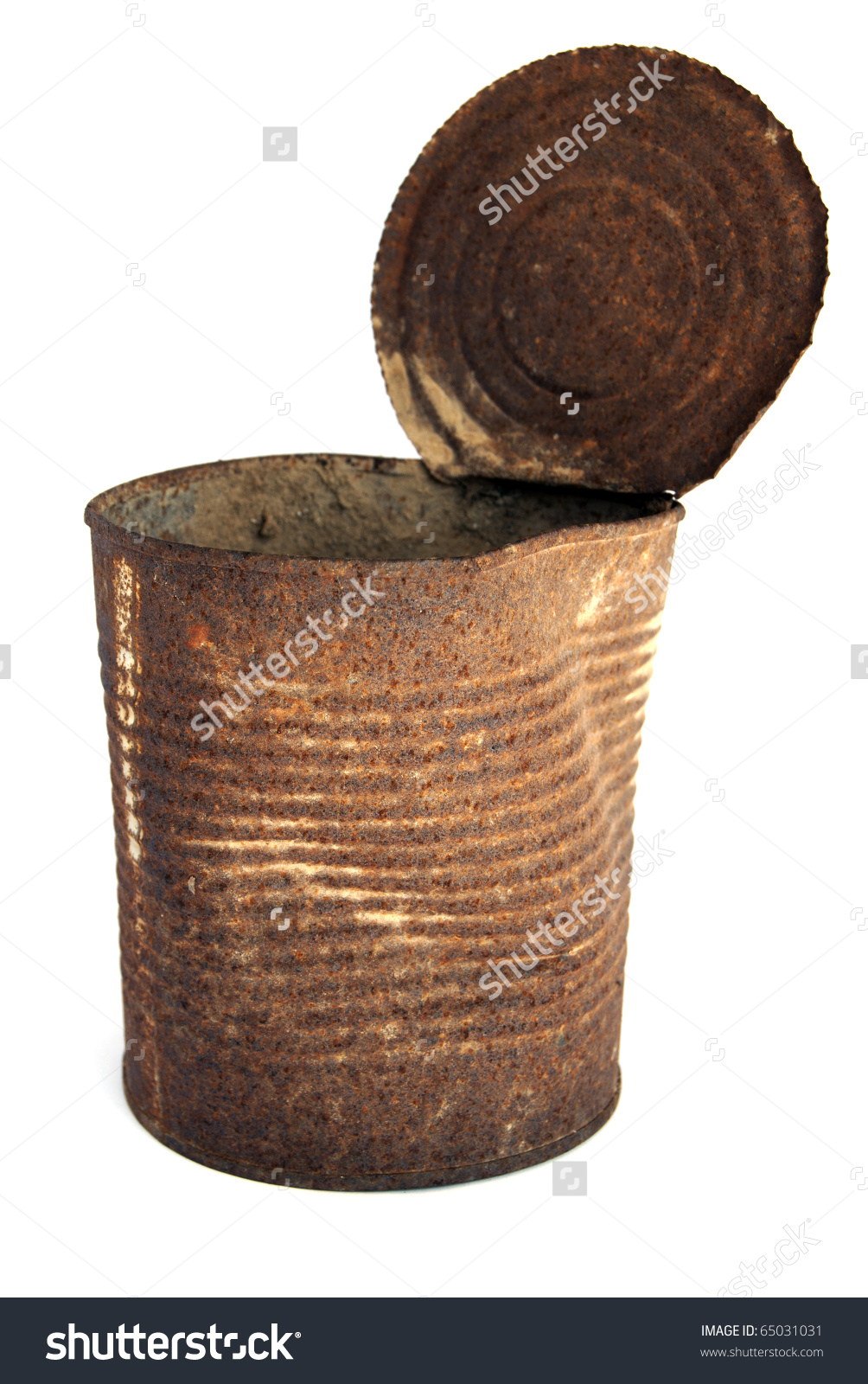 Old Rusty Tin Can On White Stock Photo 65031031.