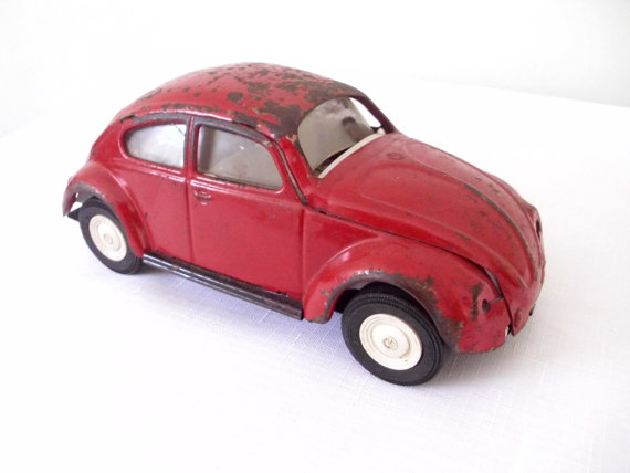 1960s 60s rusty red Tonka VW bug Volkswagon car toy by AkoVintage.