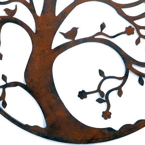 Large Round Metal Tree Wall Art in Rusty Coloured Finish.