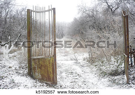 Picture of Old rusty gate k5192557.