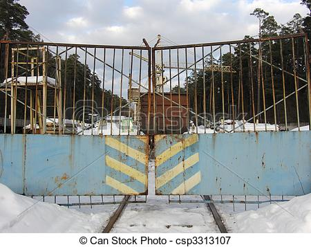 Picture of old rusty gate.