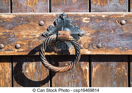 Stock Photography of Old rusty gate latch on the door csp16469814.