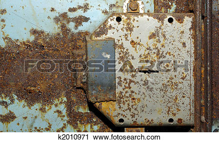 Stock Photography of Old blue rusty gate with lock. Grunge.