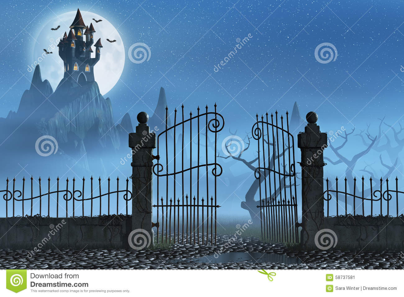 Rusty Gate And A Spooky Dark Castle Stock Illustration.