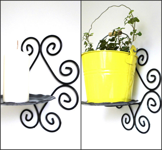 Vintage Rustic Wall Metal Planter Holder Plant Pot by WoodHistory.