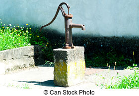 Stock Photography of Rusty Water Pump.