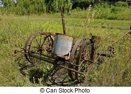 Stock Photos of Rusty Antique Field Cultivator.