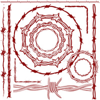 Design Elements Rusty Red Barbed Wire stock vectors.