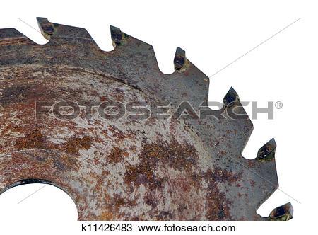 Stock Photo of Retro rusty circular saw disk closeup on white.