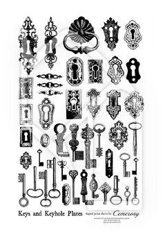 Vintage Bronze Keys clip art.