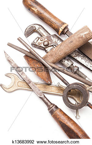 Stock Photo of old metal work hand tools with rust on white.