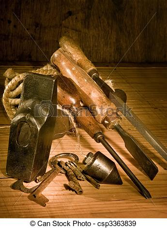 Stock Photographs of Rusty tools.