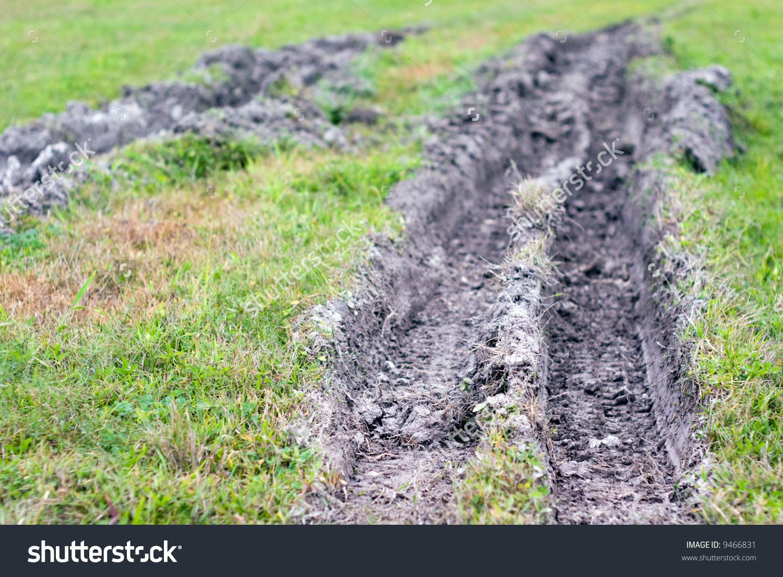 Muddy Rut Truck Tires Grass Field Stock Photo 9466831.