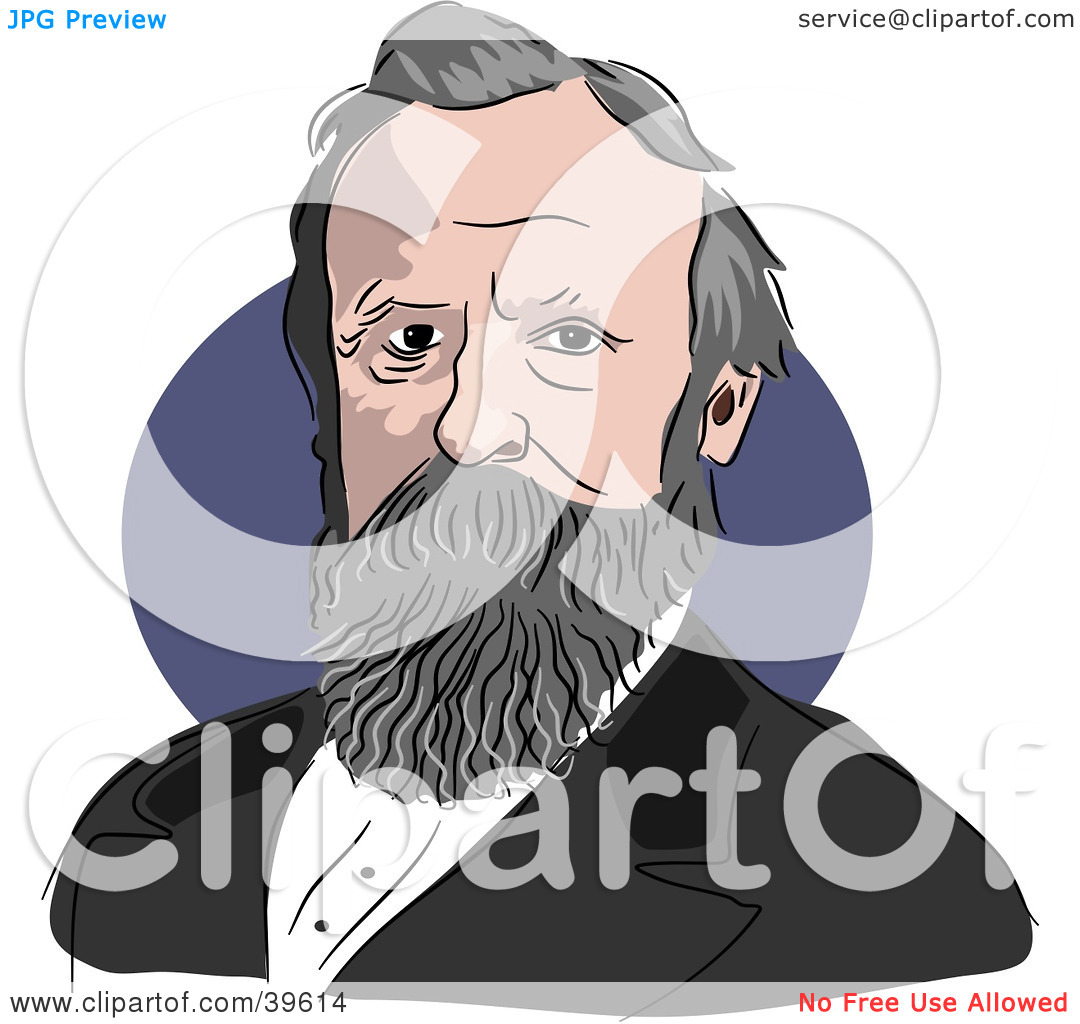 Clipart Illustration of American President Rutherford B. Hayes by.
