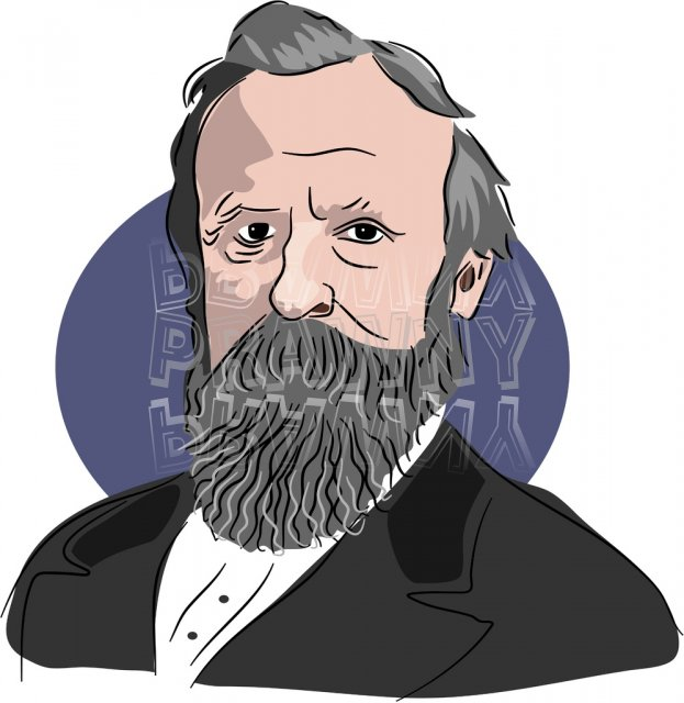 American President Rutherford B Hayes Clipart Illustration.