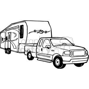 Truck and RV Camper Trailer clipart. Royalty.