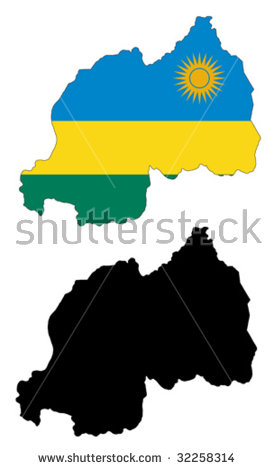 Vector Map And Flag Of Rwanda With White Background..