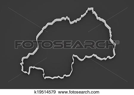 Stock Illustration of Map of Rwanda. k19514579.