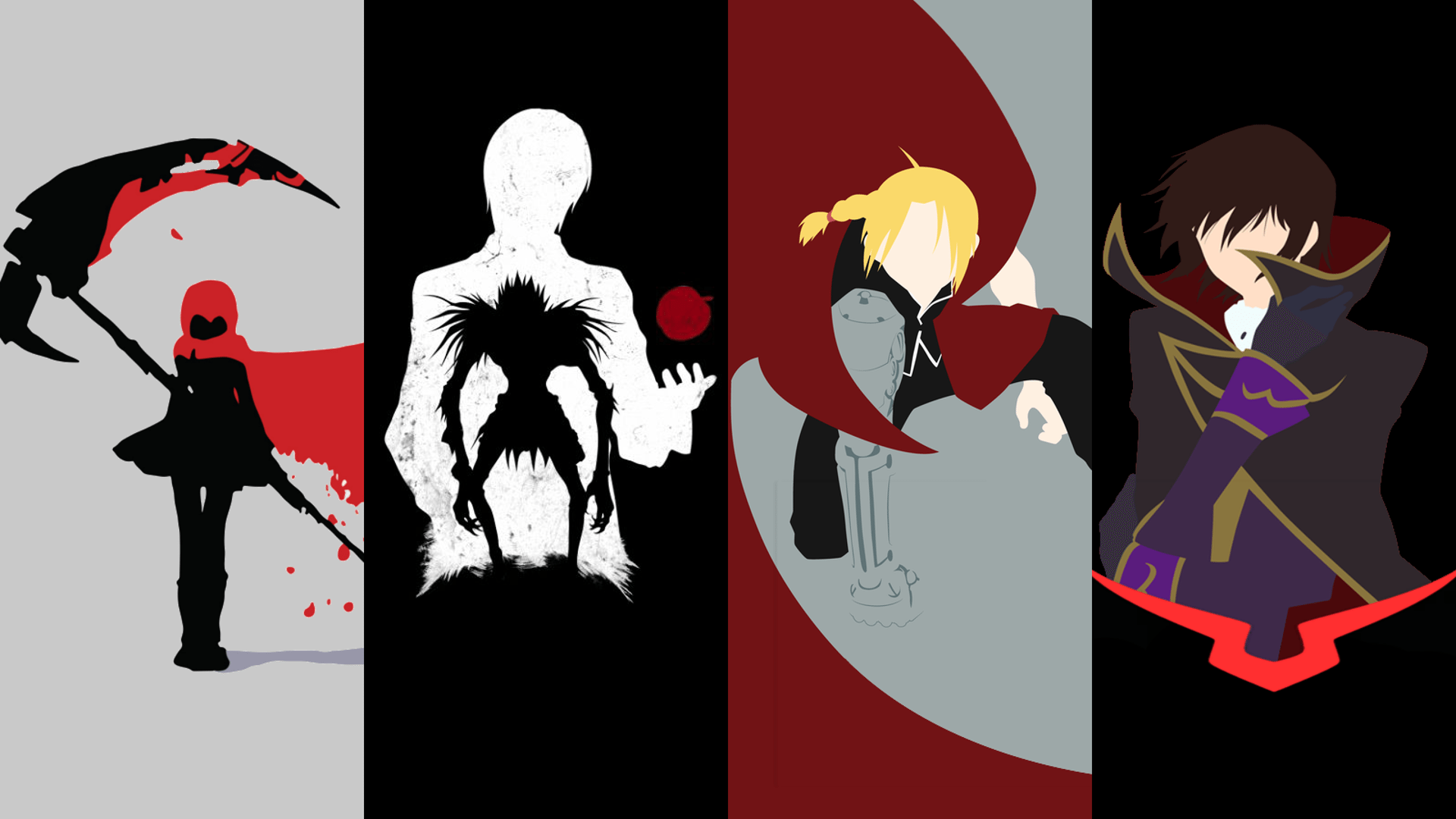 Deathnote, FMA, Code Geass and RWBY wallpaper (1920x1080) HD.