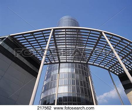 Stock Photo of Low angle view of skyscraper, RWE Tower, Essen.