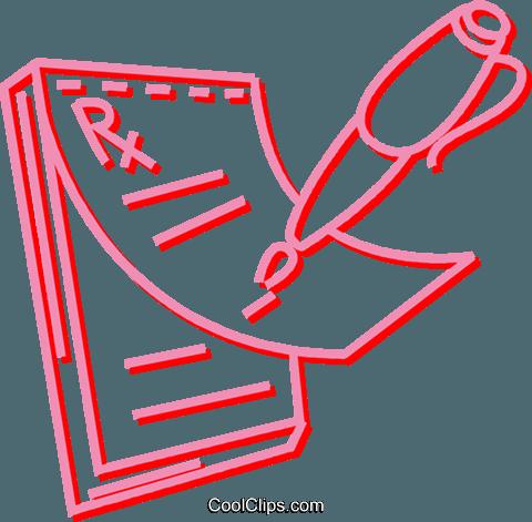 prescription pad Royalty Free Vector Clip Art illustration.