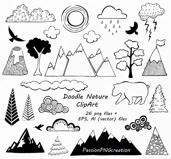 Doodle Nature Clipart, Hand Drawn Mountain Clipart, Clouds clip.