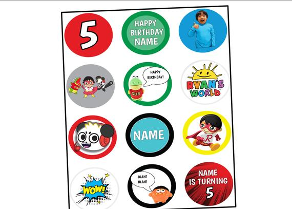 Ryan\'s World Toy Review Birthday Cupcake Toppers or Bunting.