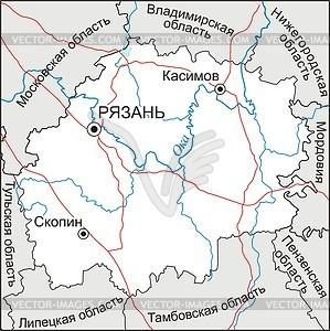 Ryazan oblast map.