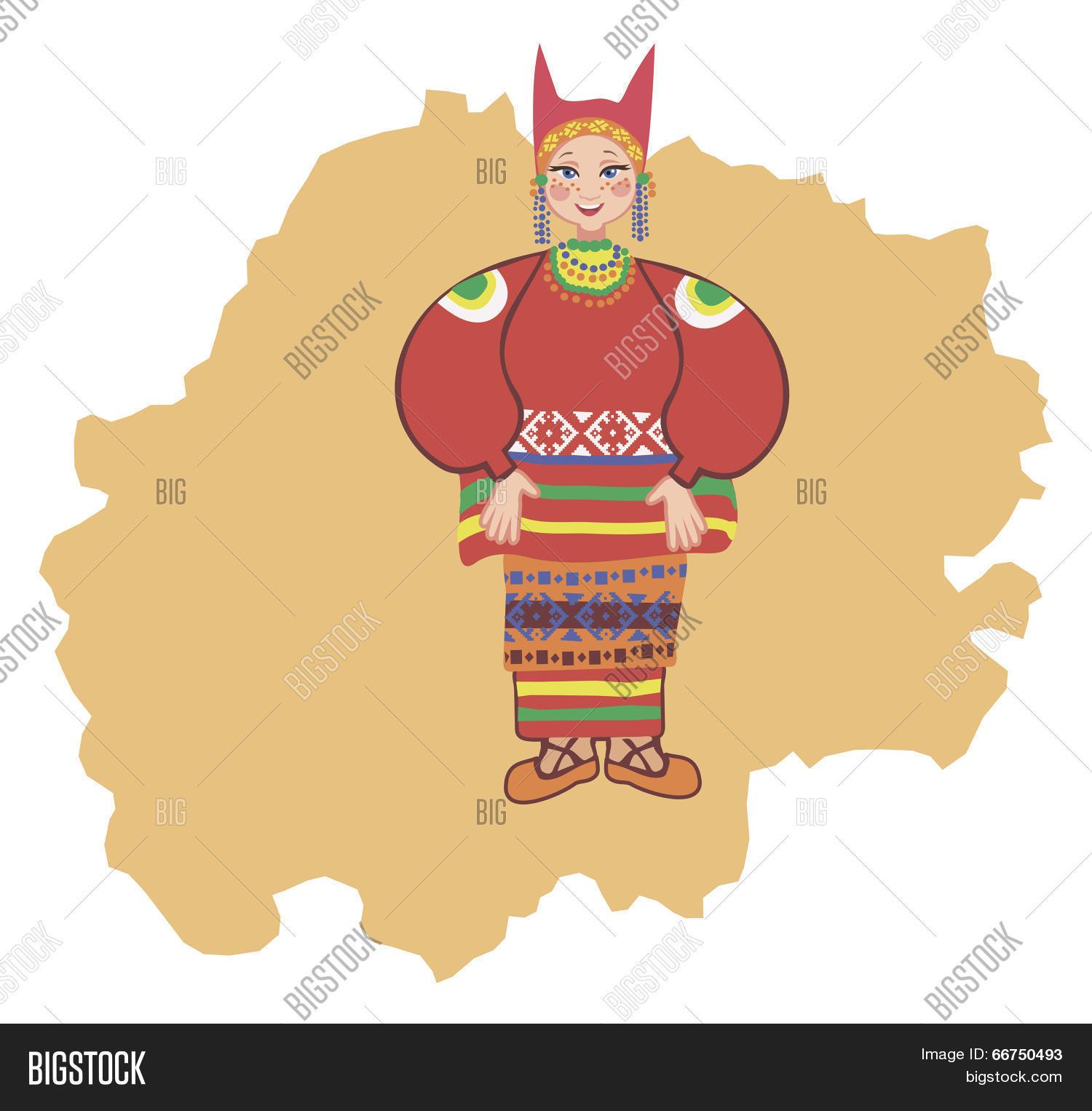 Woman In Traditional Folk Costume Of The Ryazan Region Stock.