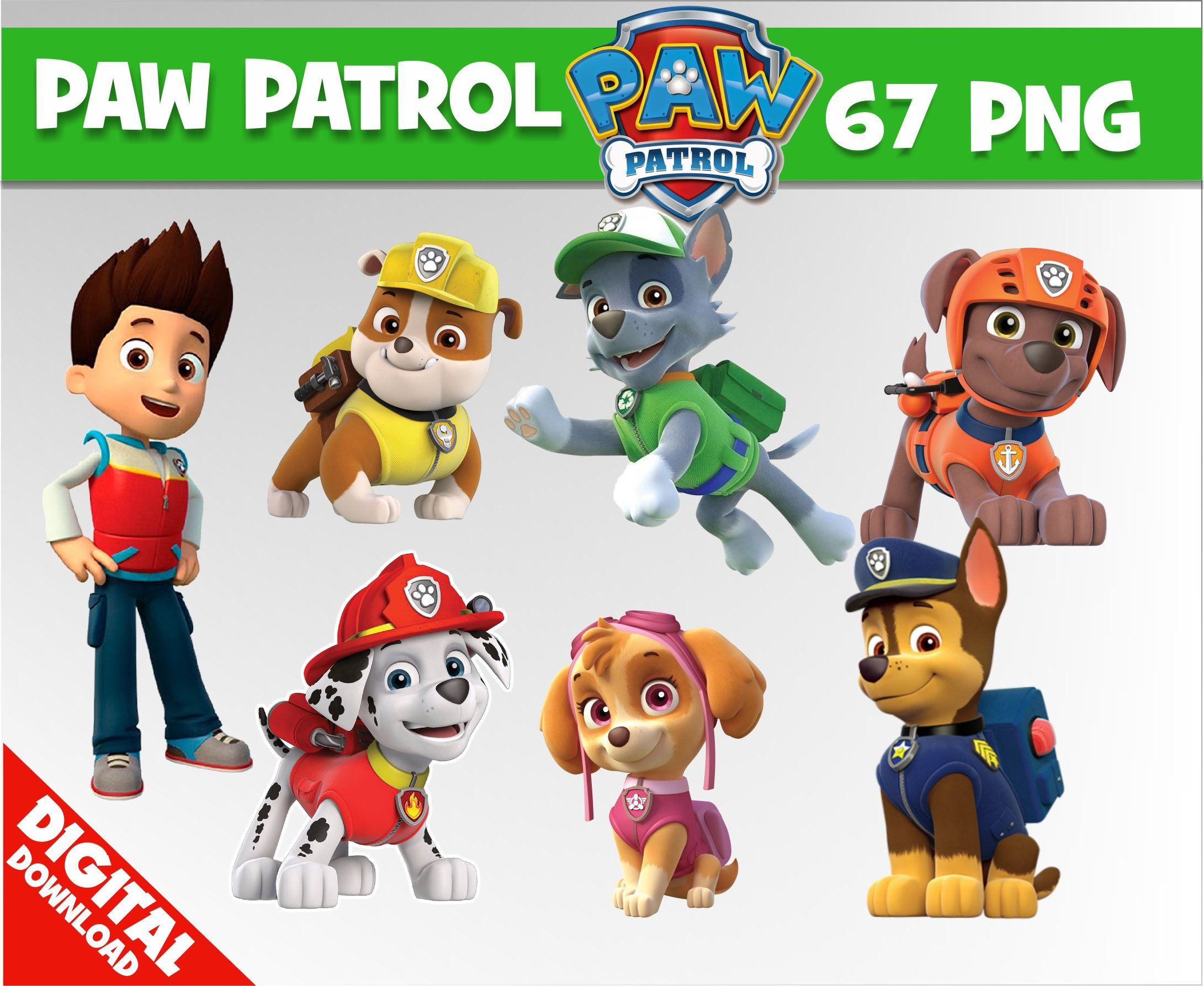 Paw patrol Clipart Images Digital Graphics transparent.
