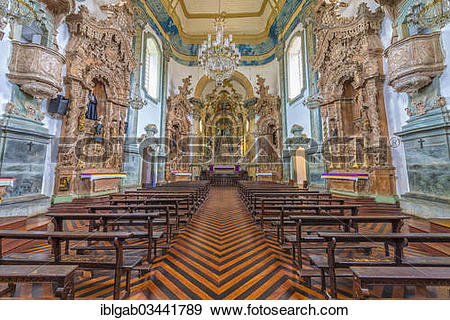 "Stock Photograph of ""Sao Francisco de Assis Church, interior view."