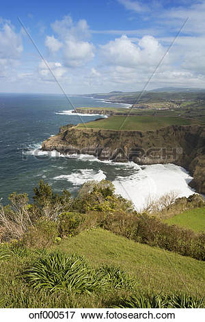 Picture of Portugal, Azores, Sao Miguel, Cliff line at Ferraria.