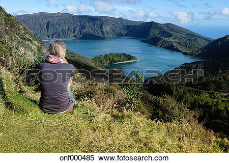 Stock Image of Portugal, Azores,Sao Miguel, Tourist looking at.